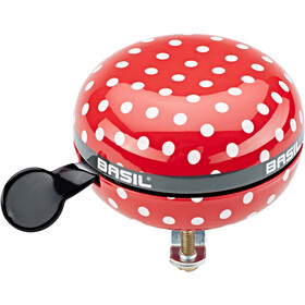 Basil Polkadot Big Bell Bicycle Bell 80mm Ø, red/white dots